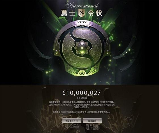 DOTA2国际邀请赛奖金突破千万美元