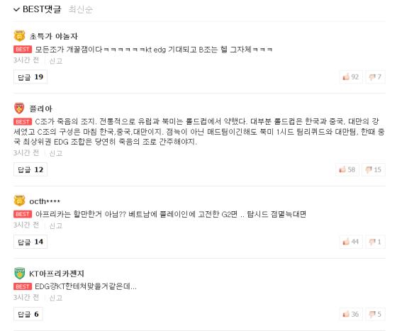韩国网友评16强分组:C组是死亡之组,EDG会惨败kt