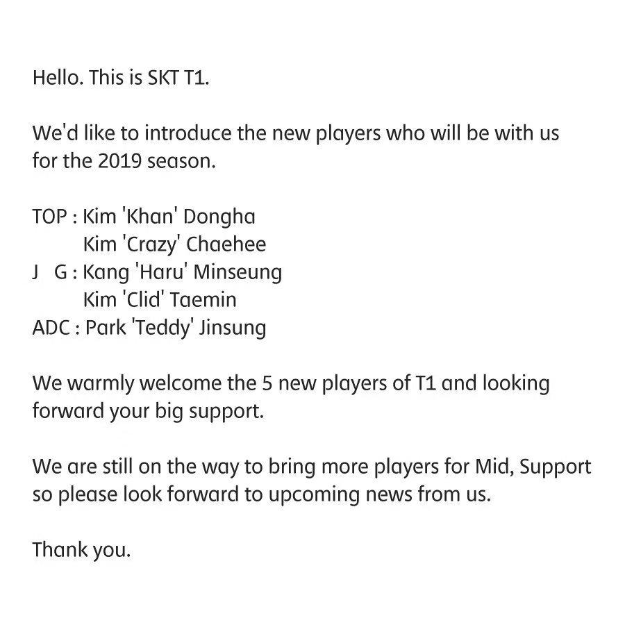 SKT全新陣容組成!Khan,S7冠軍打野加入!