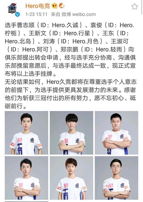 KPL俱乐部挂牌名单公布 Hero久竞六人上榜!